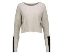 Cropped pony hair-trimmed ribbed-knit sweater