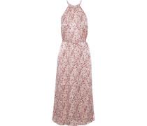 Printed Hammered-satin Midi Dress