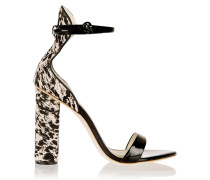 + Sophia Webster Nicole Patent-leather And Calf Hair Sandals Schwarz