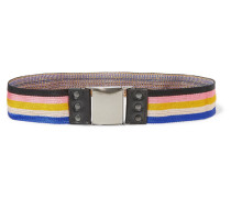Striped Stretch-canvas And Leather Belt Mehrfarbig