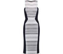 Paneled metallic jacquard and twill midi dress