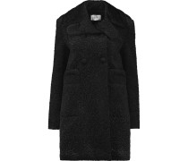 Double-breasted Padded Faux Shearling Coat Schwarz