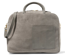 Leather-trimmed Suede Tote Dunkelgrau