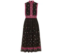 Lillias Lace-trimmed Embroidered Silk-blend Chiffon Midi Dress