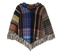 Fringed bouclé and crochet-knit wool-blend hooded poncho