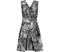 Elisa Pleated Printed Satin-twill Mini Dress Schwarz
