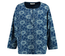Prairies Floral-print Cotton-chambray Top Navy