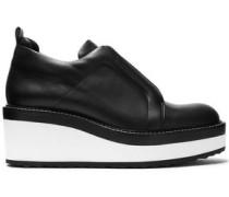 Leather platform slip-on sneakers