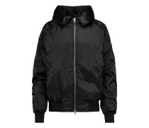 Hooded ruched shell bomber jacket