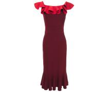 Ruffled Two-tone Ribbed-knit Midi Dress