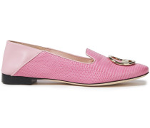 Embellished Lizard-effect Leather Collapsible-heel Loafers