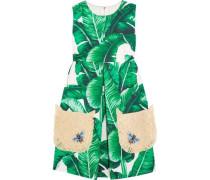 Appliqued cotton-blend mini dress
