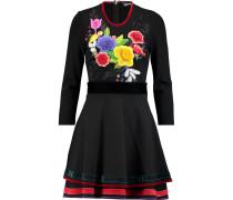 Appliquéd Stretch-jersey Mini Dress Schwarz