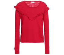 Ruffle-trimmed pointelle-knit cotton, silk and cashmere-blend top