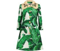 Raffia-trimmed printed cotton-blend brocade coat