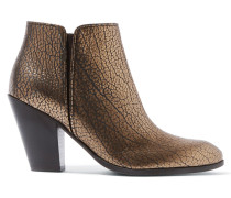 Metallic Textured-leather Ankle Boots Bronze