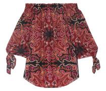 Deanna Off-the-shoulder Printed Silk-chiffon Top Burgunder