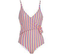 Lila Badeanzug mit Wickeleffekt und Streifen