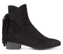 Fringed Suede Ankle Boots Schwarz