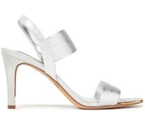 Slingback-sandalen aus Webstoff mit Metallic-effekt