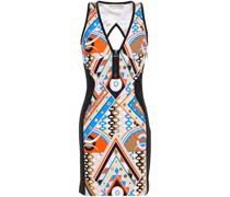 Cutout Printed Jersey Mini Dress