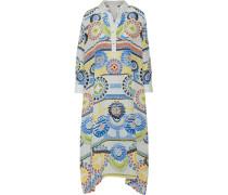 Draped Printed Silk Crepe De Chine Kaftan Mehrfarbig
