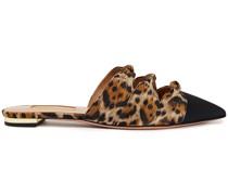 Mondaine Grosgrain-trimmed Knotted Leopard-print Jacquard Mules
