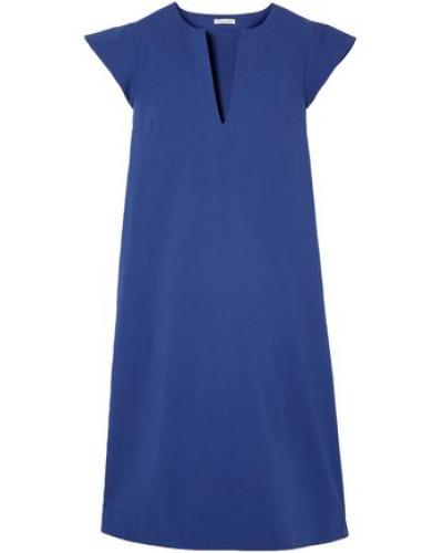 Cotton-blend Poplin Midi Dress Cobalt Blue