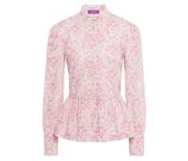 Hemd aus Baumwollpopeline mit Schößchen und Floralem Print