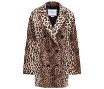 Doppelreihige Jacke aus Kunstfell mit Leopardenprint
