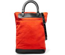Leather-trimmed Suede Shoulder Bag Knallorange