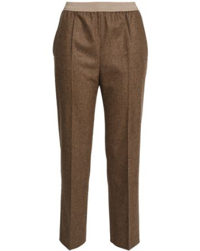 Mélange Wool-blend Straight-leg Pants Brown