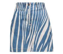 Lace-up printed denim mini skirt
