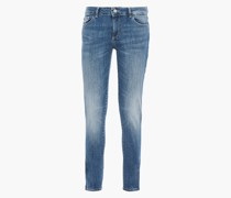 Woman Faded Low-rise Skinny Jeans Light Denim