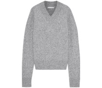 Cutout Mélange Brushed Knitted Sweater