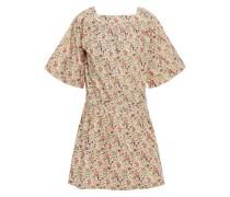 Nessie Minikleid aus Baumwolle mit Floralem Print und Raffung