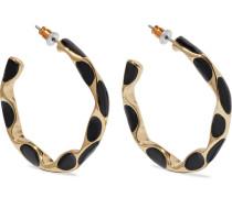 22-karat Gold-plated Enamel Hoop Earrings
