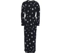 Gathered Printed Crepe Maxi Dress Black
