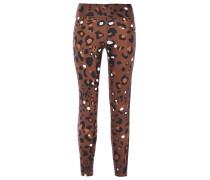 Cropped Leopard-print Stretch Leggings