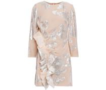 Ruffled Metallic Fil Coupé Silk-blend Mini Dress