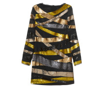 Embellished Silk-chiffon Mini Dress Schwarz