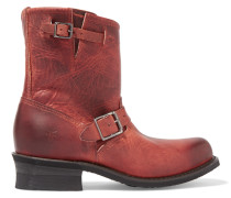 Engineer Distressed Leather Boots Bordeaux