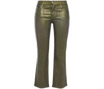 Metallic Mid-rise Kick-flare Jeans