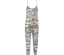 Printed Linen Jumpsuit Grau