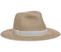 Lillian Metallic Grosgrain-trimmed Faux Straw Fedora