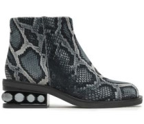 Faux Pearl-embellished Snake-print Velvet Ankle Boots Charcoal