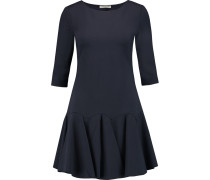 Pleated Ponte Mini Dress Navy