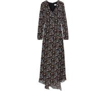 Wrap-effect Floral-print Crepe De Chine Maxi Dress