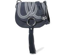 Tasseled Suede Shoulder Bag Navy
