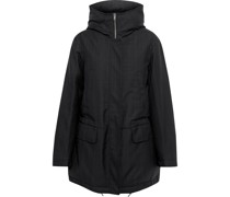 Bruthen Pinstriped Wool-blend Gabardine Hooded Parka